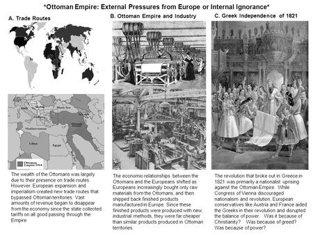 *Ottoman Empire: External Pressures from Europe or Internal Ignorance* A. Trade Routes The wealth of the Ottomans was largely due to their presence on.