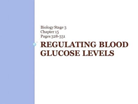 Regulating blood glucose levels