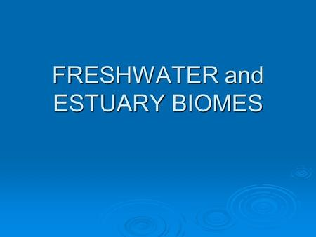 FRESHWATER and ESTUARY BIOMES. Chapter 20 Stream and River Ecosystems The water in brooks, streams, and rivers flows from melting snow, rain or a spring.