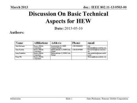 Doc.: IEEE 802.11-13/0503-00 Submission March 2013 Juho Pirskanen, Renesas Mobile CorporationSlide 1 Discussion On Basic Technical Aspects for HEW Date: