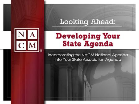 Looking Ahead: Incorporating the NACM National Agenda into Your State Association Agenda Developing Your State Agenda.