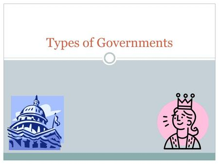"Types of Governments. Anarchy "" Without ruler "" Absence of Government Each individual has absolute liberty."