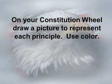 On your Constitution Wheel draw a picture to represent each principle. Use color.