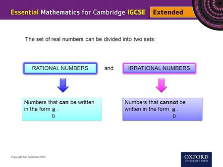 The set of real numbers can be divided into two sets: RATIONAL NUMBERS IRRATIONAL NUMBERS and Numbers that can be written in the form a. b Numbers that.
