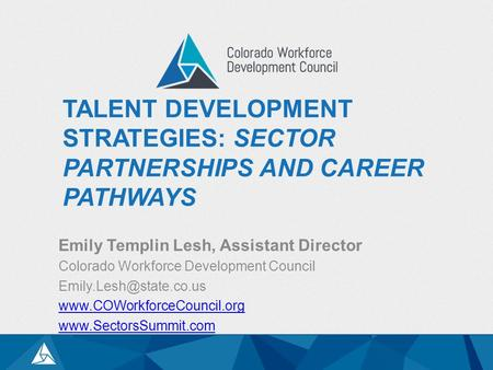 TALENT DEVELOPMENT STRATEGIES: SECTOR PARTNERSHIPS AND CAREER PATHWAYS Emily Templin Lesh, Assistant Director Colorado Workforce Development Council