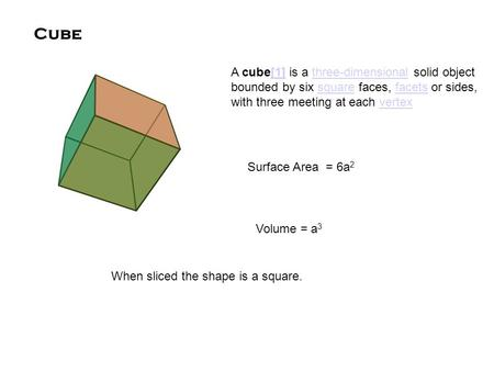 Cube A cube[1] is a three-dimensional solid object bounded by six square faces, facets or sides, with three meeting at each vertex[1]three-dimensionalsquarefacetsvertex.