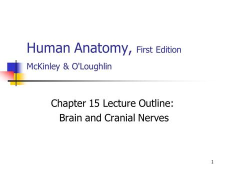 1 Human Anatomy, First Edition McKinley & O'Loughlin Chapter 15 Lecture Outline: Brain and Cranial Nerves.