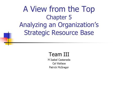 A View from the Top Chapter 5 Analyzing an Organization's Strategic Resource Base Team III M Isabel Castaneda Cal Wallace Patrick McGregor.