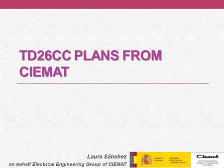 TD26CC PLANS FROM CIEMAT Laura Sánchez on behalf Electrical Engineering Group of CIEMAT.