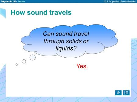 16.2 Properties of sound waves How sound travels Can sound travel through solids or liquids? Yes.