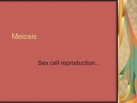 Meiosis Sex cell reproduction... Meiosis The process of reproduction division in which the number of chromosomes per cell is cut in half through the separation.