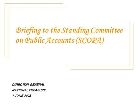 Briefing to the Standing Committee on Public Accounts (SCOPA) DIRECTOR-GENERAL NATIONAL TREASURY 1 JUNE 2005.