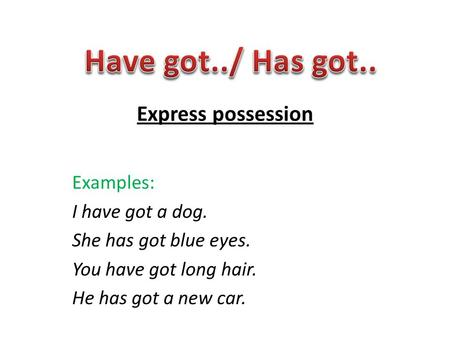 Express possession Examples: I have got a dog. She has got blue eyes. You have got long hair. He has got a new car.