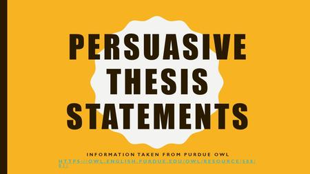 Owl Thesis Statement