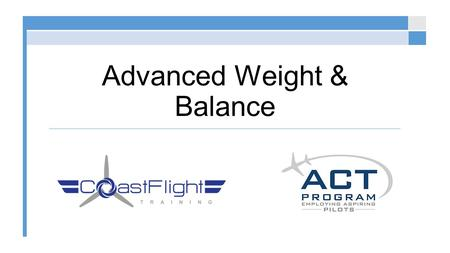 Advanced Weight & Balance