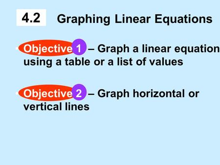 Graphing Linear Equations 4.2 Objective 1 – Graph a linear equation using a table or a list of values Objective 2 – Graph horizontal or vertical lines.