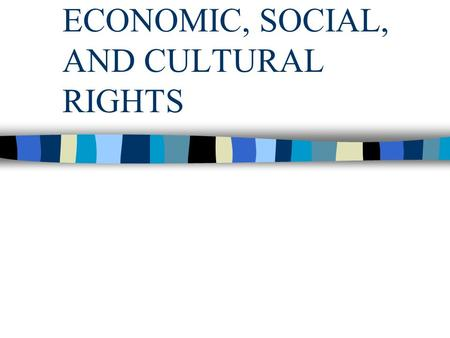 ECONOMIC, SOCIAL, AND CULTURAL RIGHTS. Economic rights Entrepreneurial freedom and the market-based regulation of economic relations are the backbone.