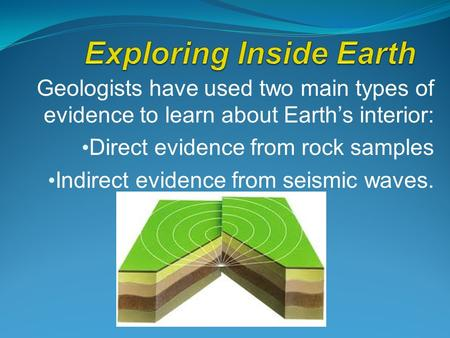 Geologists have used two main types of evidence to learn about Earth's interior: Direct evidence from rock samples Indirect evidence from seismic waves.