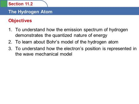 Section 11.2 The Hydrogen Atom 1.To understand how the emission spectrum of hydrogen demonstrates the quantized nature of energy 2.To learn about Bohr's.