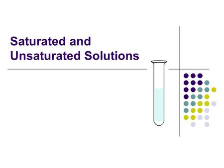 Saturated and Unsaturated Solutions
