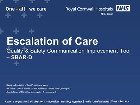 Escalation of Care Quality & Safety Communication Improvement Tool – SBAR-D Based on Escalation of Care Project (Started Sept 2013) Ian Moyle – Clinical.