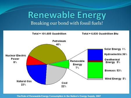Breaking our bond with fossil fuels! The Role of Renewable Energy Consumption in the Nation's Energy Supply, 2007.