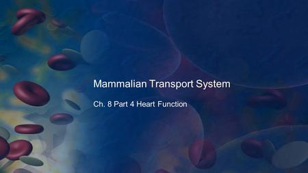 Mammalian Transport System Ch. 8 Part 4 Heart Function.