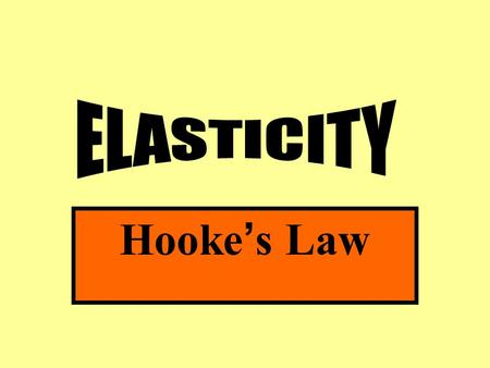 Hooke ' s Law. Elasticity: The ability of an object to return to its original shape after the deforming force is removed.