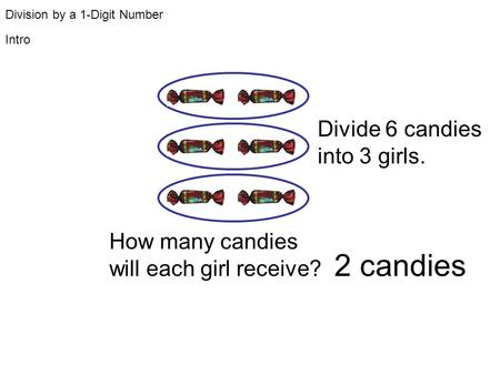 Division by a 1-Digit Number How many candies will each girl receive? Divide 6 candies into 3 girls. Intro 2 candies.