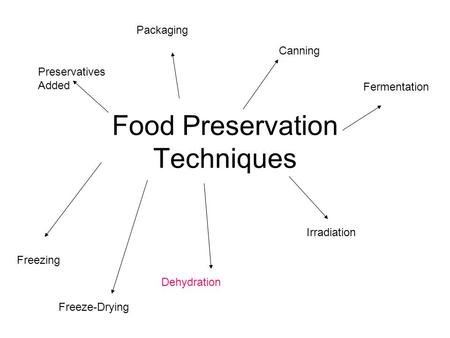 Food Preservation Techniques Preservatives Added Canning Freezing Dehydration Irradiation Freeze-Drying Packaging Fermentation.