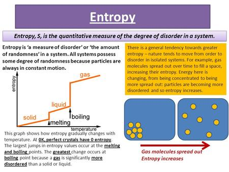 Entropy Entropy, S, is the quantitative measure of the degree of disorder in a system. Entropy is 'a measure of disorder' or 'the amount of randomness'
