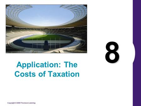 Copyright © 2006 Thomson Learning 8 Application: The Costs of Taxation.