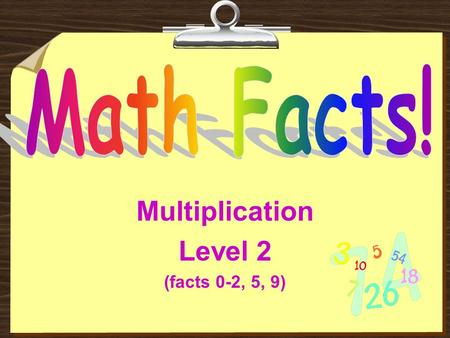 Multiplication Level 2 (facts 0-2, 5, 9) Read These Instructions:  Try to get the answer before the computer puts it on the screen.  Do not click on.