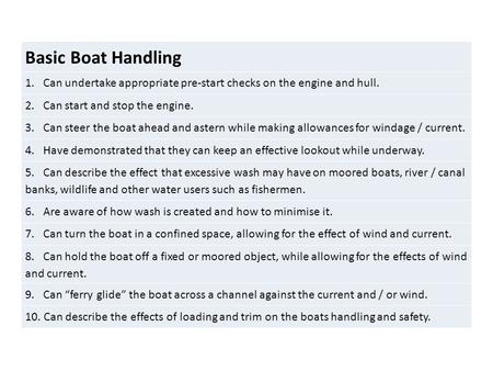 Basic Boat Handling 1. Can undertake appropriate pre-start checks on the engine and hull. 2. Can start and stop the engine. 3. Can steer the boat ahead.