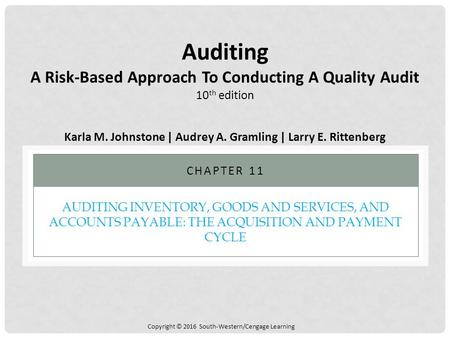 Copyright © 2016 South-Western/Cengage Learning AUDITING INVENTORY, GOODS AND SERVICES, AND ACCOUNTS PAYABLE: THE ACQUISITION AND PAYMENT CYCLE CHAPTER.