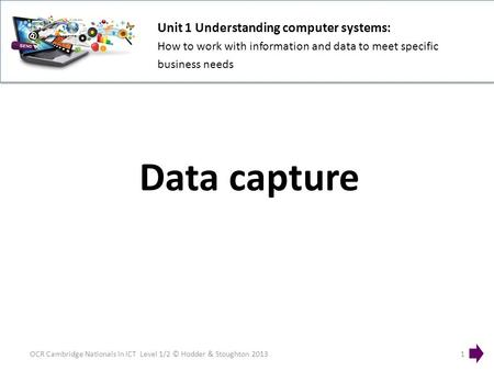 Unit 1 Understanding computer systems: How to work with information and data to meet specific business needs OCR Cambridge Nationals in ICT Level 1/2 ©