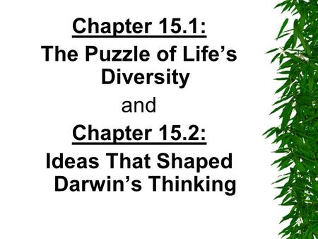 Chapter 15.1: The Puzzle of Life's Diversity and Chapter 15.2: Ideas That Shaped Darwin's Thinking.