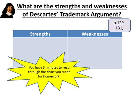 What are the strengths and weaknesses of Descartes' Trademark Argument? StrengthsWeaknesses p.129- 131, You have 3 minutes to read through the chart you.