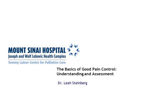 The Basics of Good Pain Control: Understanding and Assessment Dr. Leah Steinberg.