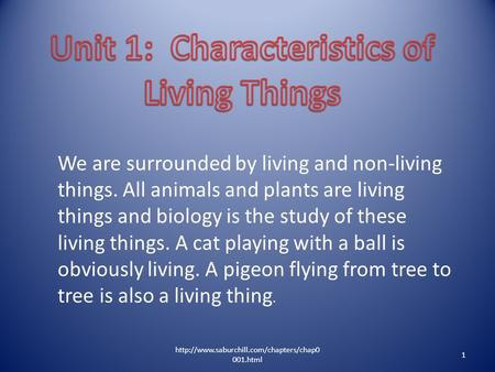 We are surrounded by living and non-living things. All animals and plants are living things and biology is the study of these living things. A cat playing.