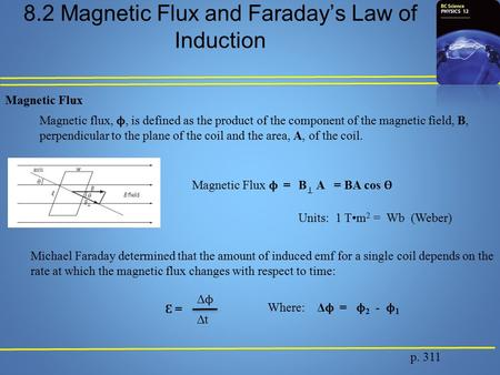 8.2 Magnetic Flux and Faraday's Law of Induction p. 311 Magnetic Flux Magnetic flux, ϕ, is defined as the product of the component of the magnetic field,