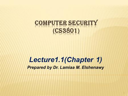 Lecture1.1(Chapter 1) Prepared by Dr. Lamiaa M. Elshenawy 1.
