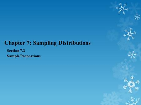 Chapter 7: Sampling Distributions Section 7.2 Sample Proportions.