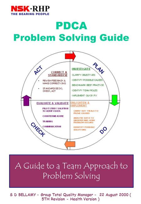 S D BELLAMY - Group Total Quality Manager - 22 August 2000 ( 5TH Revision - Health Version ) PDCA Problem Solving Guide A Guide to a Team Approach to.