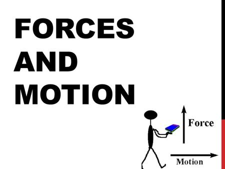 FORCES AND MOTION. FORCE A force is any push or pull from one object to another.