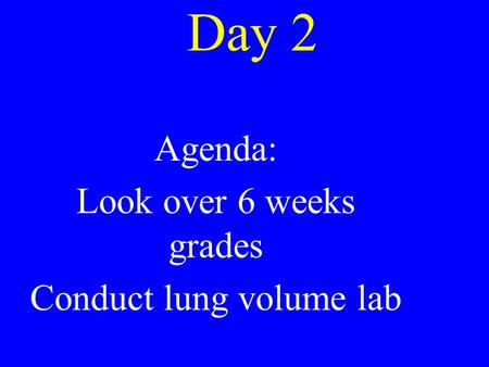 Day 2 Agenda: Look over 6 weeks grades Conduct lung volume lab.