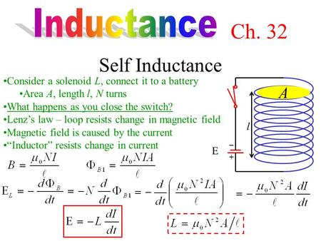 Self Inductance Consider a solenoid L, connect it to a battery Area A, length  l, N turns What happens as you close the switch? Lenz's law – loop resists.