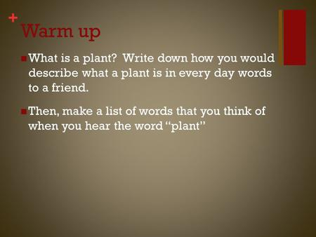 + Warm up What is a plant? Write down how you would describe what a plant is in every day words to a friend. Then, make a list of words that you think.