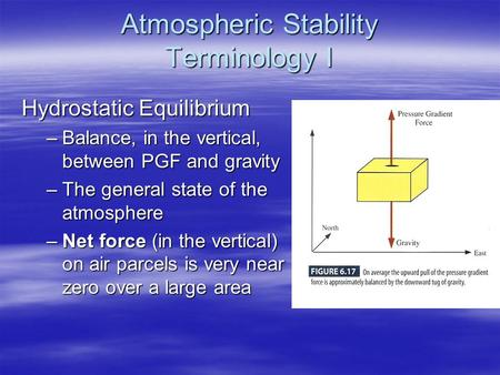 Atmospheric Stability Terminology I Hydrostatic Equilibrium –Balance, in the vertical, between PGF and gravity –The general state of the atmosphere –Net.