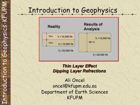 Introduction to Geophysics Ali Oncel Department of Earth Sciences KFUPM Thin Layer Effect Dipping Layer Refractions Introduction to.
